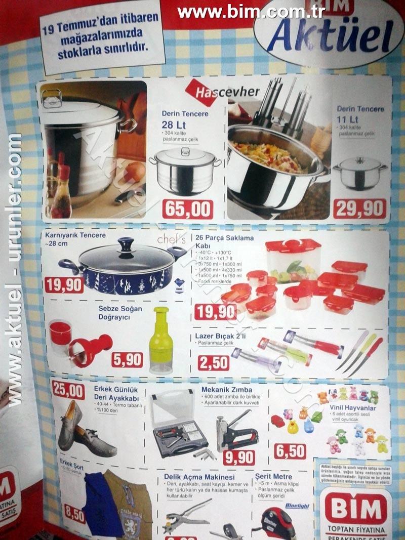 Bim Aktüel ürünleri 19 temmuz 2013