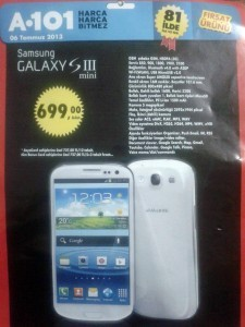 A101 Aktüel Samsung Galaxy S3 Mini 699 TL