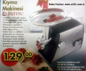 A101 10 Ekim Dijitsu Kıyma Makinesi