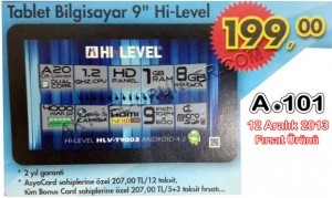 "A101 9"" Hi-Level HLV-T9003 Tablet Bilgisayar"