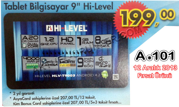 Hi Level HLV T9003 Tablet Bilgisayar A101 9 Hi Level HLV T9003 Tablet Bilgisayar