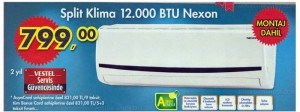 A101 19 Haziran Nexon Split 12000 BTU Klima