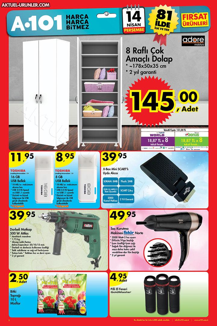 A101 14 Nisan Aktüel Ürün Kampanyalı Ürünler