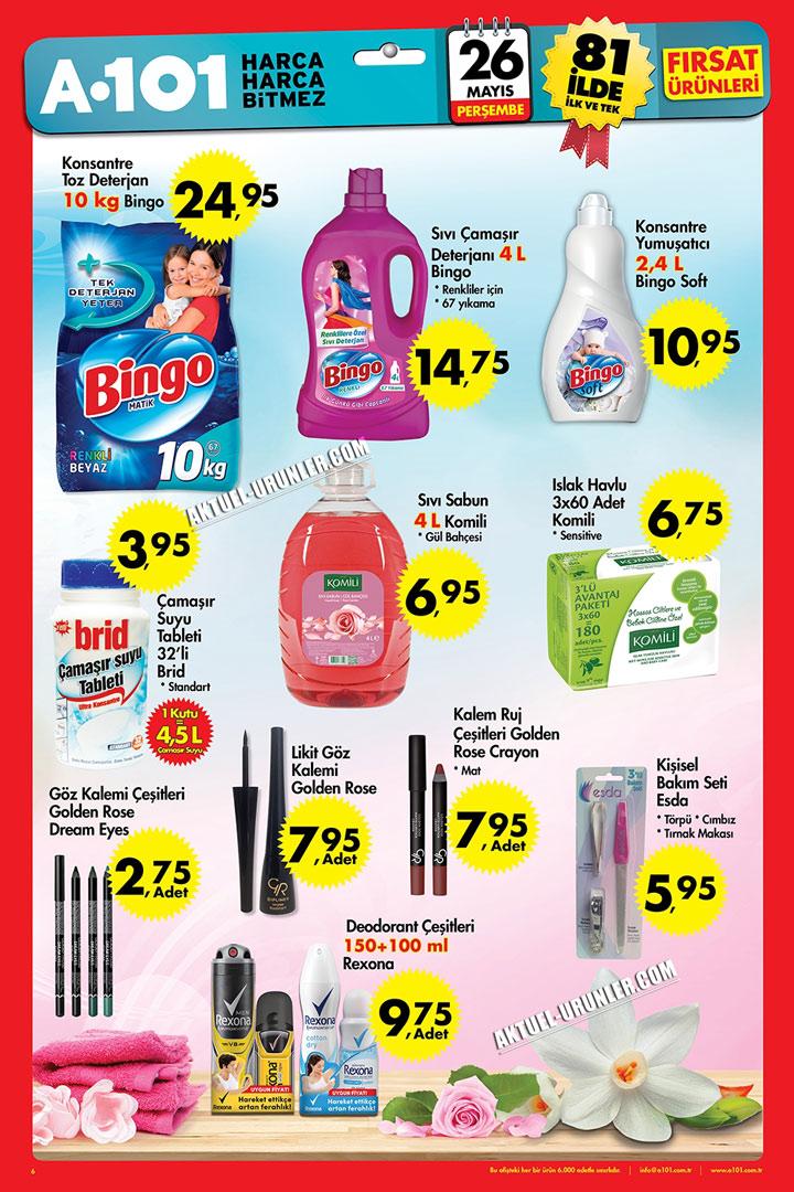 A101 26 Mayıs Makyaj ve Temizlik Ürünleri Aktüel Sayfası
