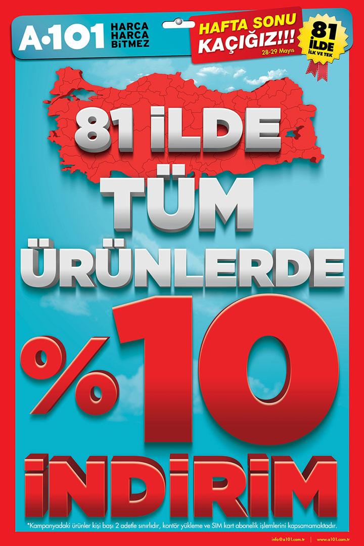 A101 28 Mayıs – 29 Mayıs Her Üründe %10 Aktüel İndirim