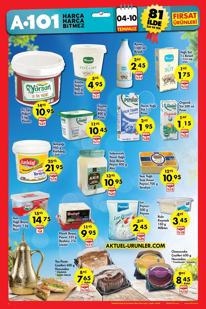 A101 4 – 10 Temmuz Aktüel | Süt Ürünleri Fırsat Sayfası