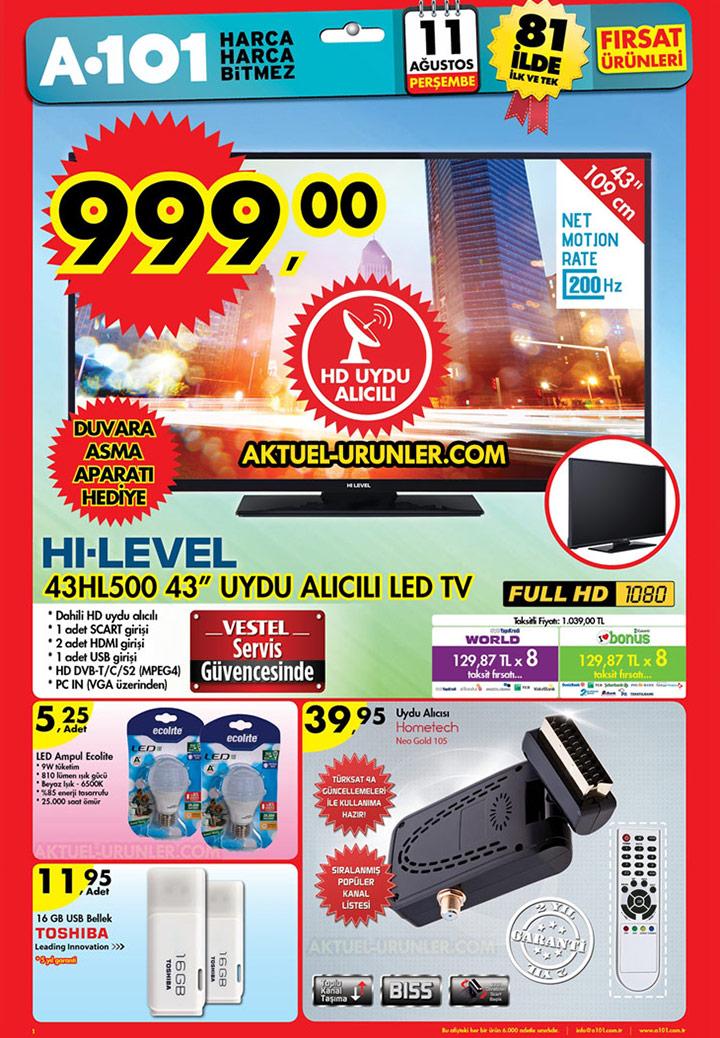 A101 11 Ağustos Aktüel Ürünleri – Hi Level 43HL500 TV