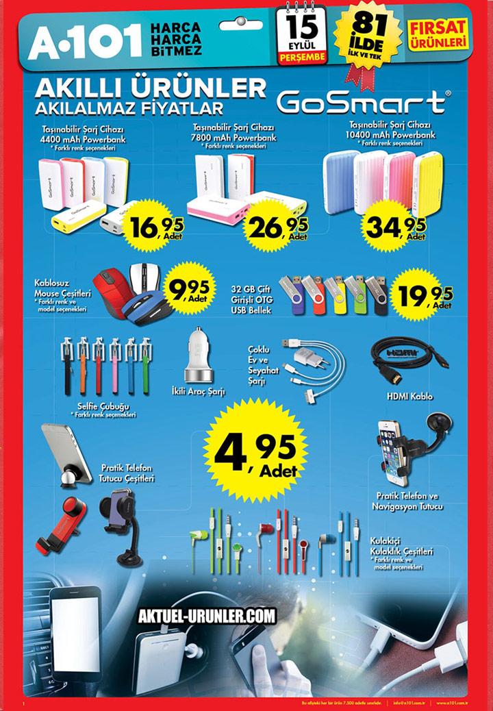 A101 15 Eylül Aktüel Kataloğu – GoSmart Ürünleri