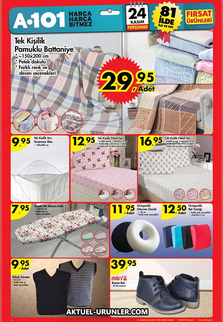 A101 24 Kasım Perşembe – Ev Tekstili Ürünleri