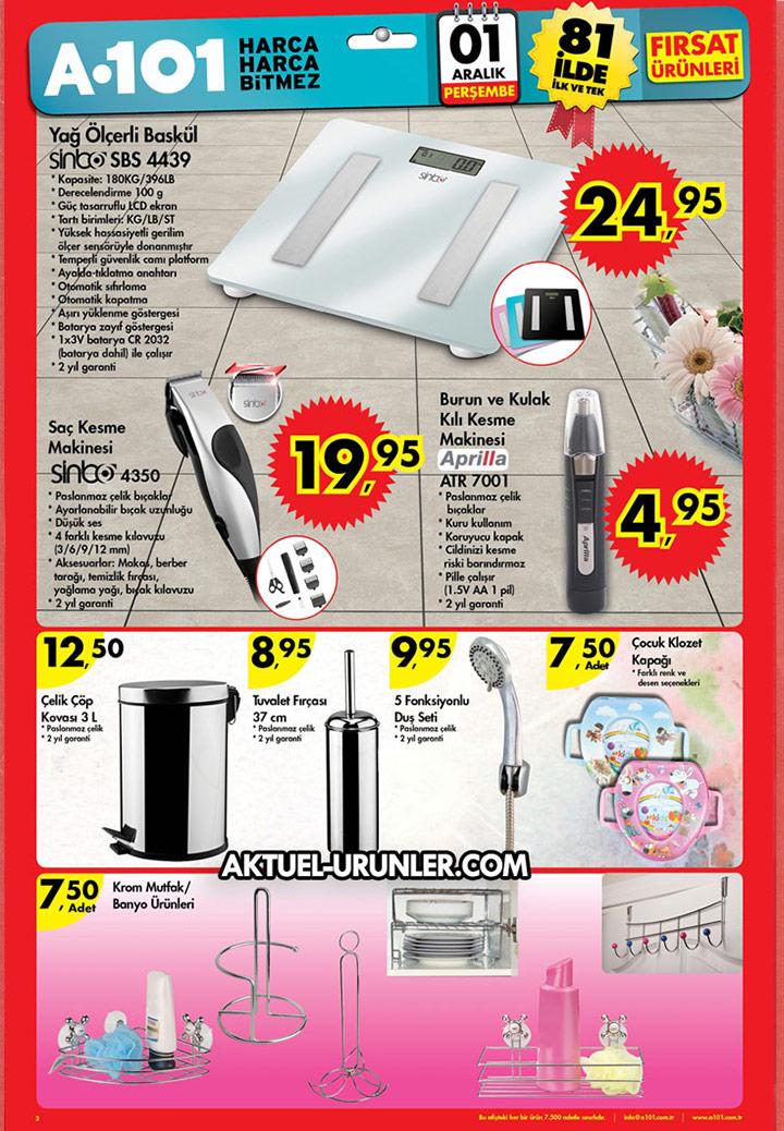 A101 1 Aralık 2016 Perşembe – Banyo Ürünleri