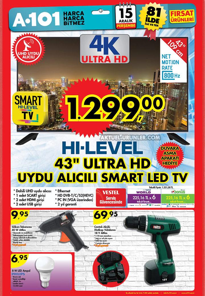 A101 15 Aralık Aktüel Sayfası – Hi-Level Ultra HD TV