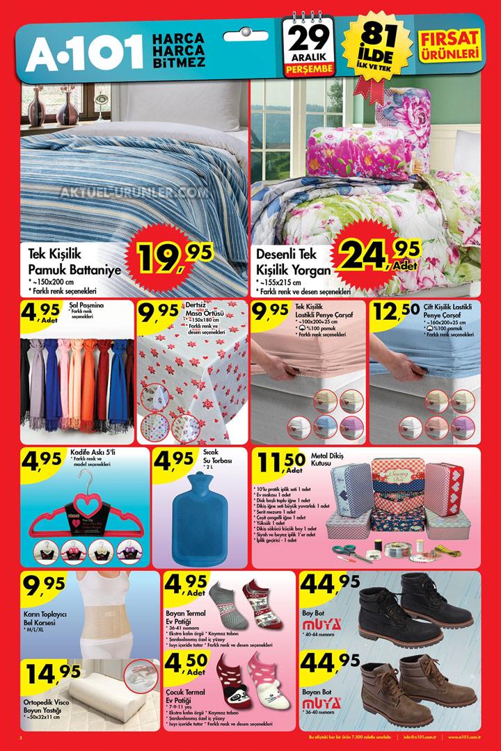 A101 29 Aralık Aktüel Ürün Kataloğu – Ev Tekstili