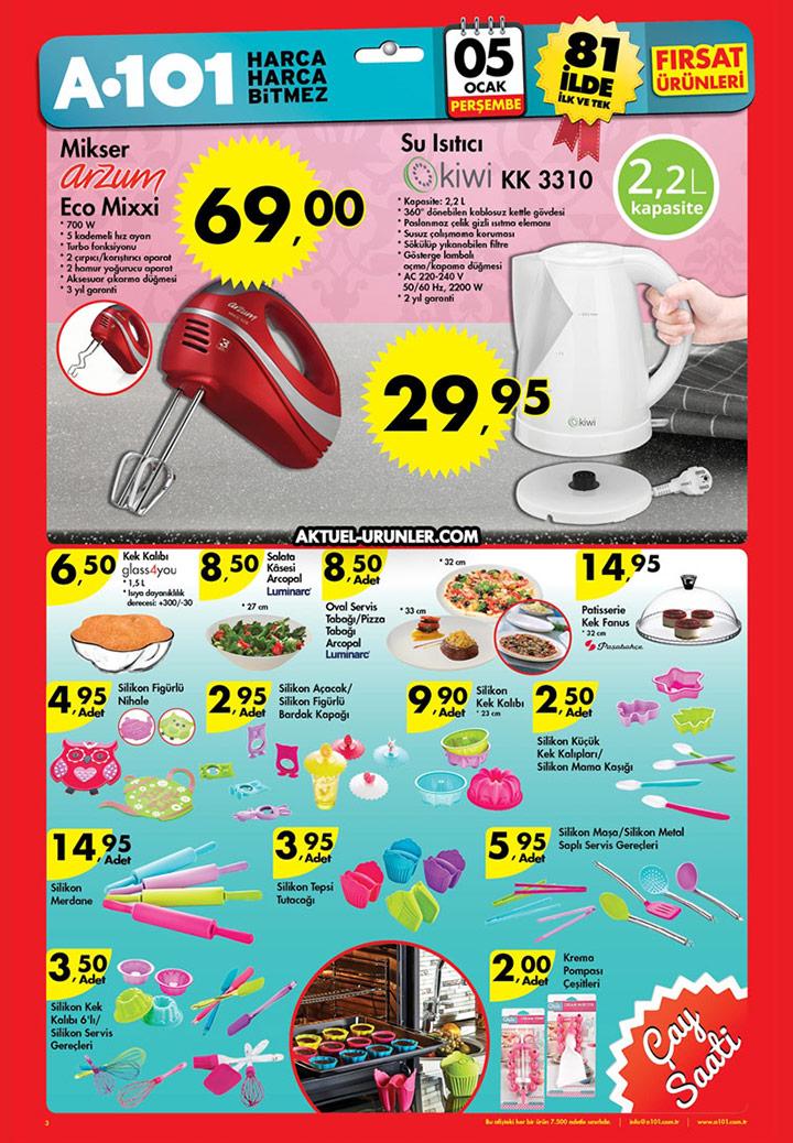 A101 5 Ocak Aktüel Perşembe - Mutfak Ürünleri