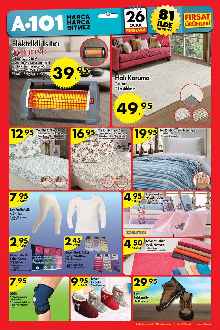 A101 26 Ocak Aktüel Ürün Kataloğu – Tekstil