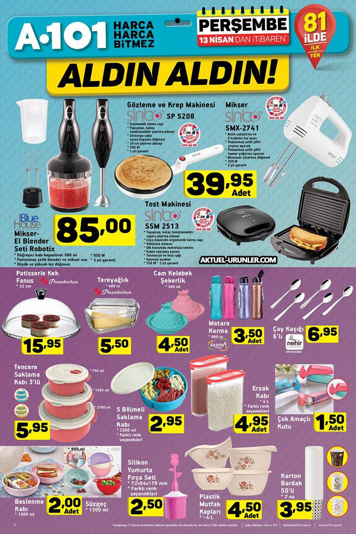 A101 13 Nisan Mutfak Ürünleri Aktüel Sayfası