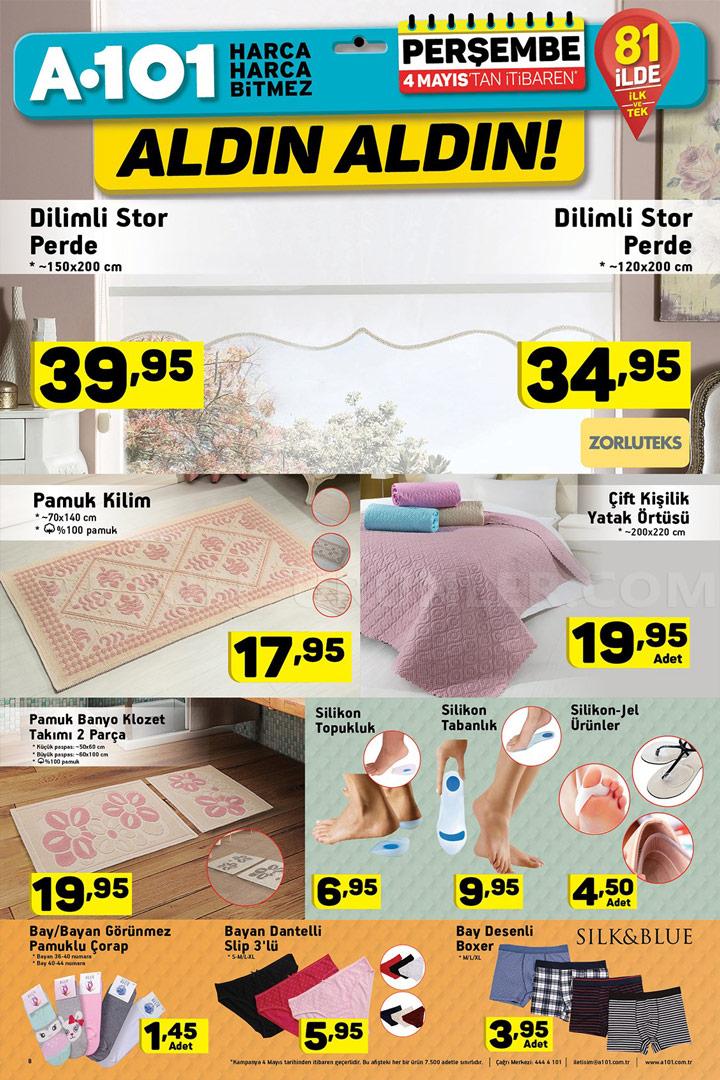 A101 4 Mayıs Ev Tekstili Ürünleri Sayfası