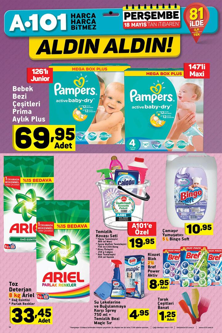 A101 18 Mayıs Bebek ve Temizlik Ürünleri Sayfası