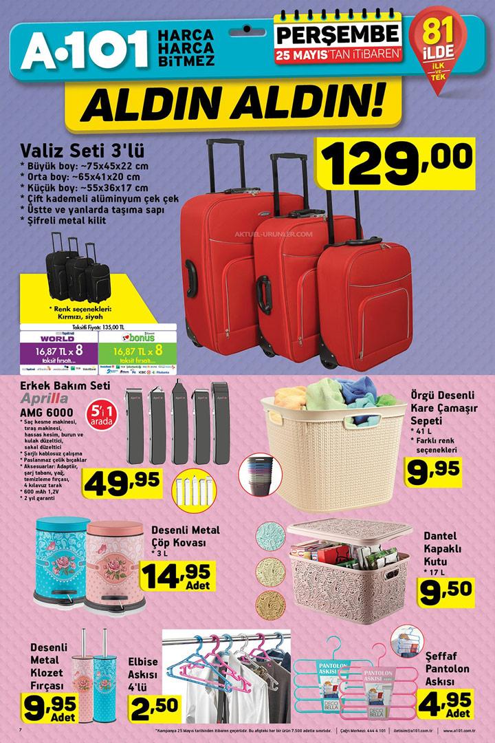 A101 25 Mayıs Valiz ve Banyo Ürünleri Sayfası