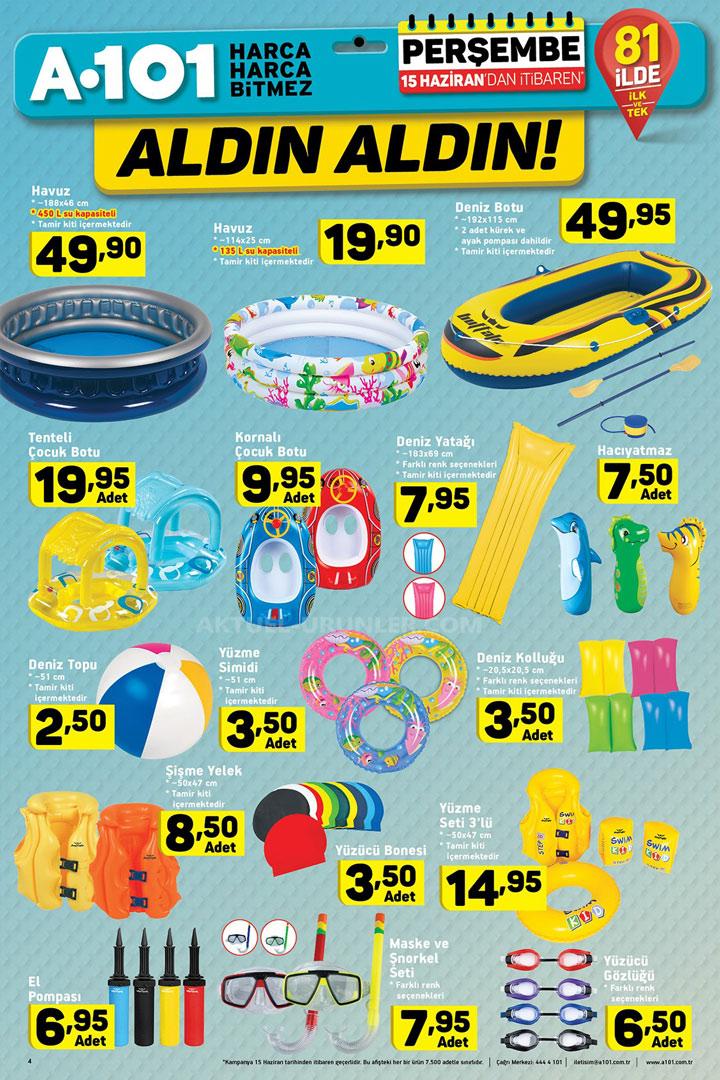 A101 15 Haziran Plaj ve Deniz Aktüel Ürünleri Sayfası