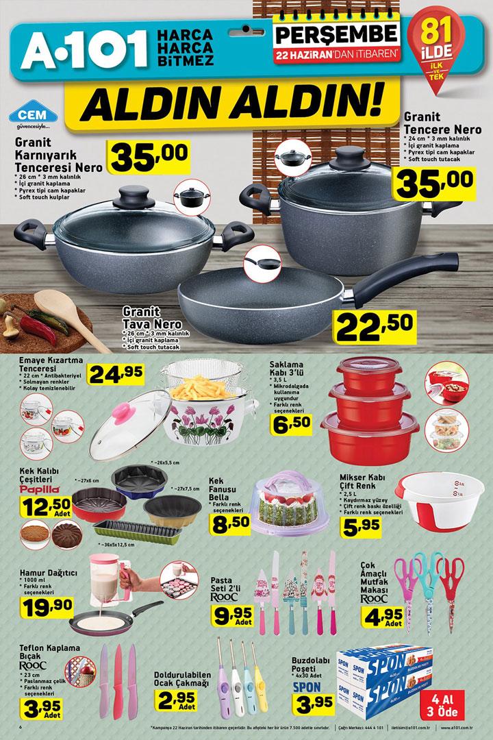 A101 22 Haziran Aktüel Mutfak Ürünleri Sayfası