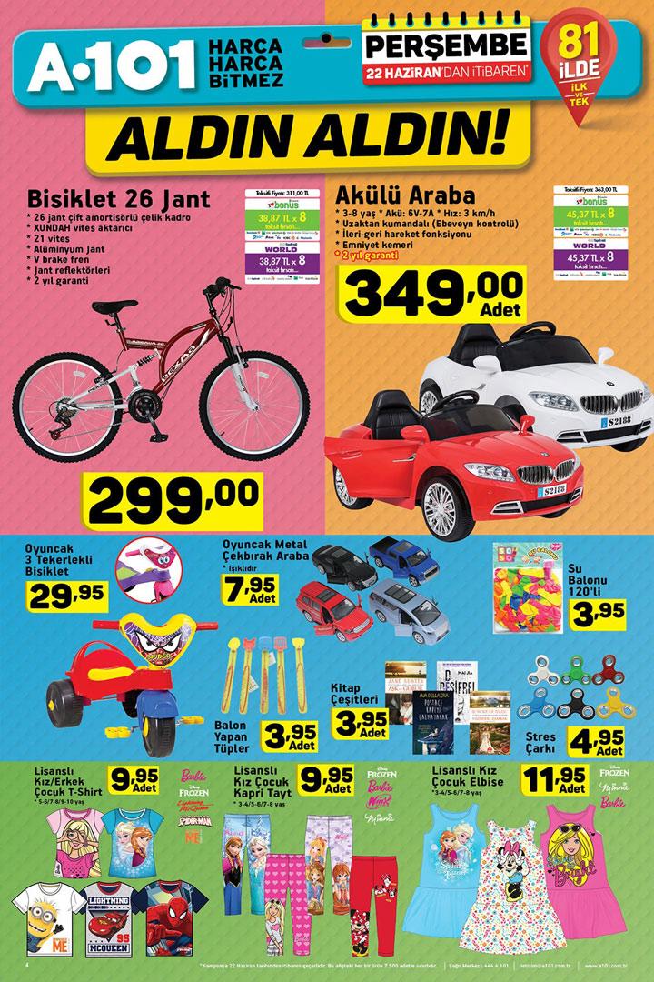 A101 22 Haziran Bisiklet & Akülü Araba Aktüel Fırsatları