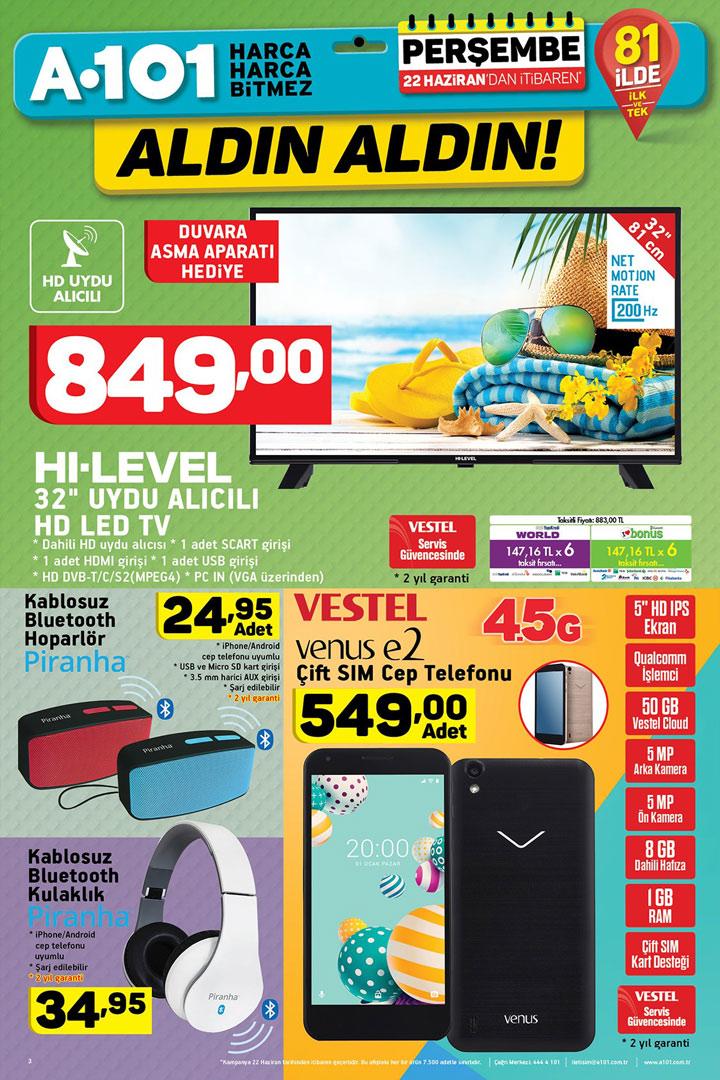 A101 22 Haziran Elektronik Aktüel Ürünler Sayfası
