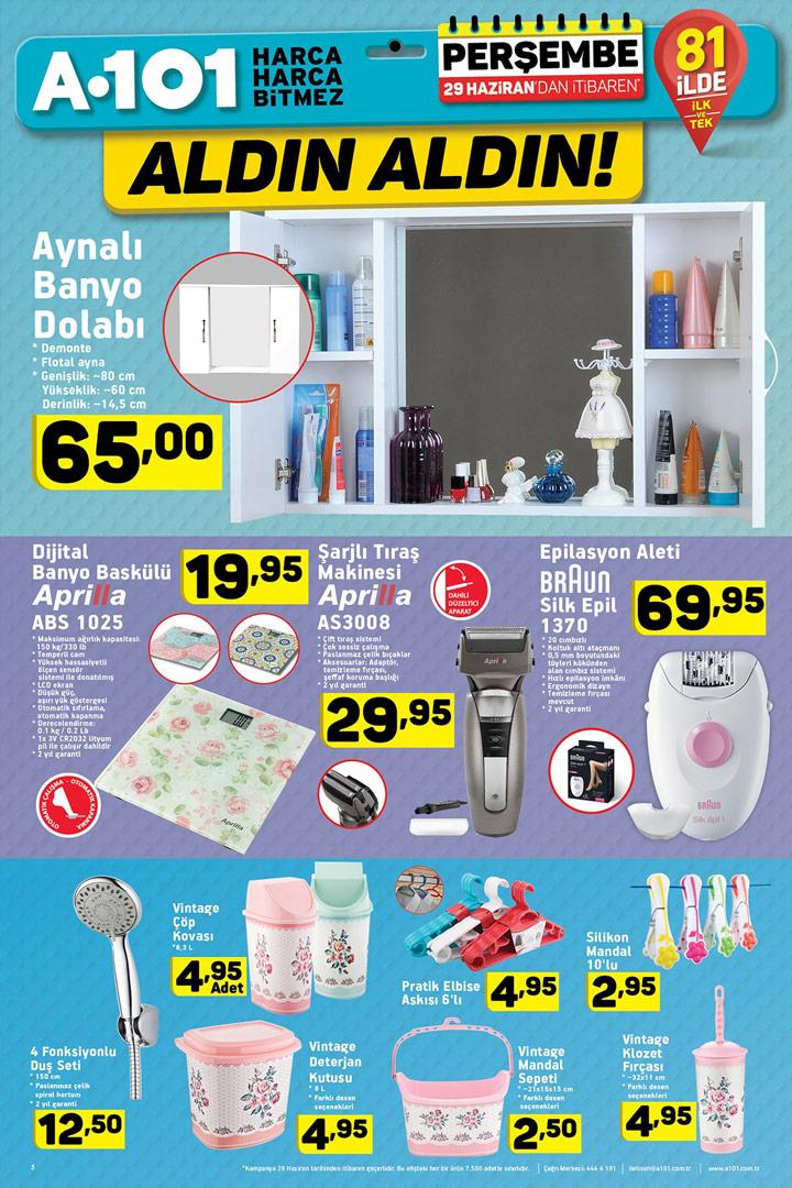 A101 29 Haziran Banyo Aktüel Ürünler Sayfası