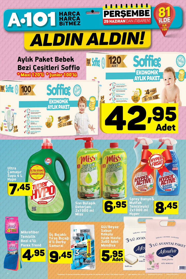 A101 29 Haziran Temizlik ve Bebek Bezi İndirimleri