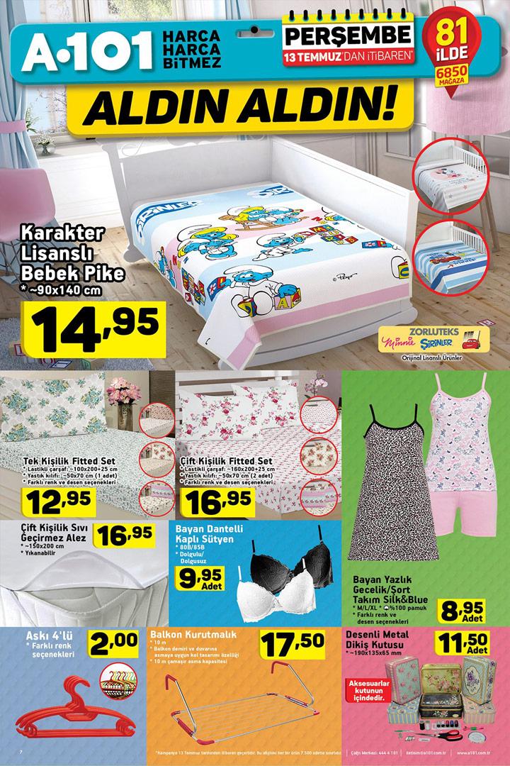 A101 13 Temmuz Ev Tekstili Fırsatları Aktüel Kataloğu