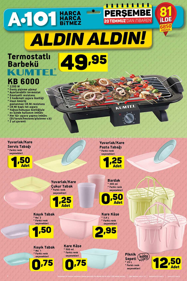 A101 20 Temmuz Mutfak Ürünleri Kampanyalı Ürünleri