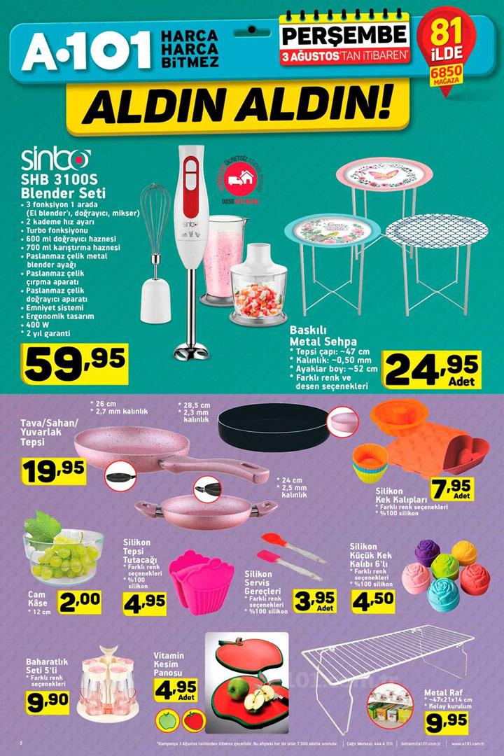 A101 3 Ağustos Mutfak Aktüel Ürünleri Kampanyaları