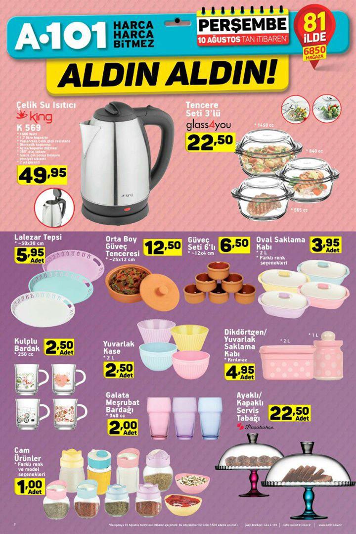 A101 10 Ağustos Aktüel Mutfak Ürünleri Sayfası