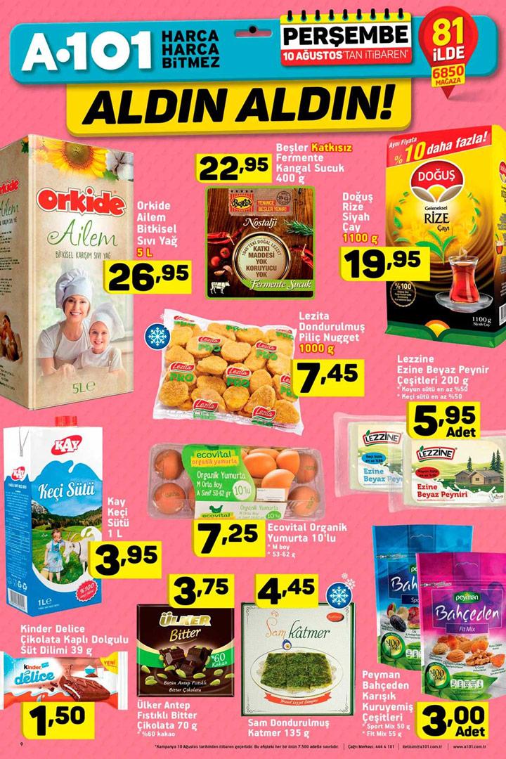 A101 10 Ağustos Gıda Ürünleri İndirim Sayfası