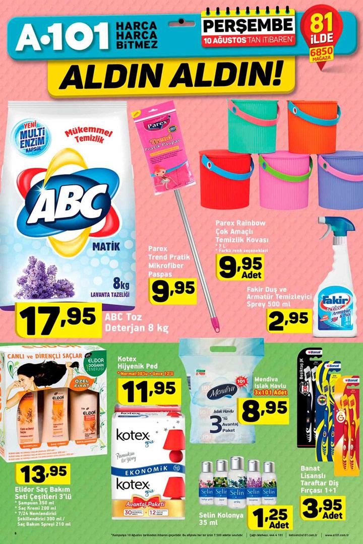 A101 10 Ağustos Temizlik ve Kişisel Bakım Aktüel Ürünleri