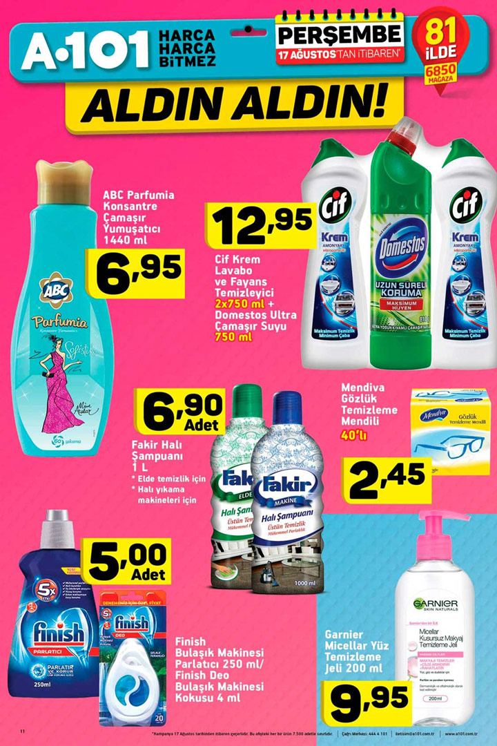 A101 17 Ağustos İtibari İle Gelen Temizlik Ürünleri