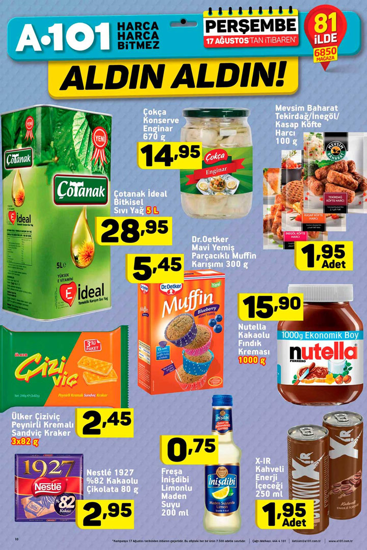 A101 17 Ağustos Gıda Ürünü Aktüel Fırsatları