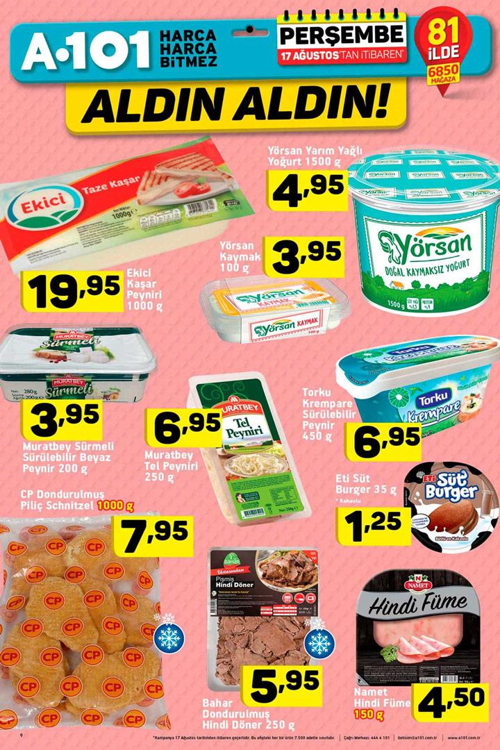 A101 17 Ağustos Her Eve Lazım Gıda Ürünleri