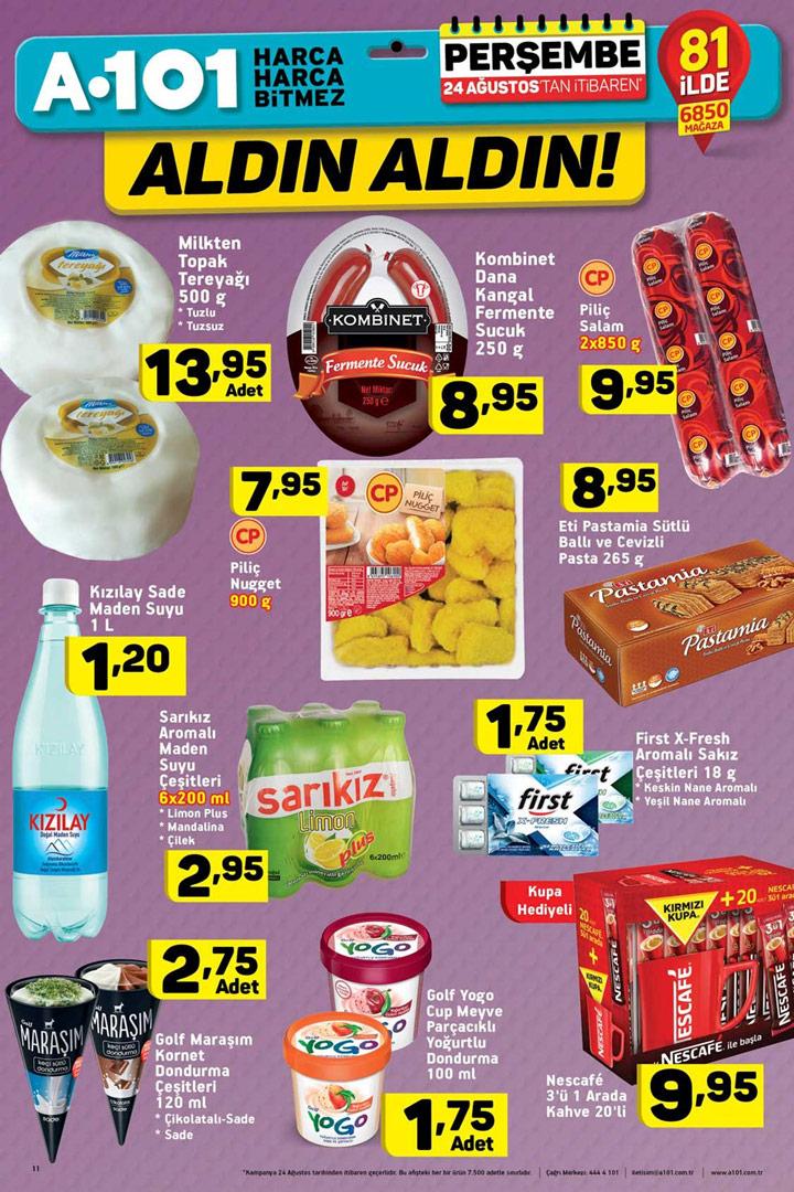 A101 24 Ağustos İtibari ile Geçerli Gıda Kataloğu