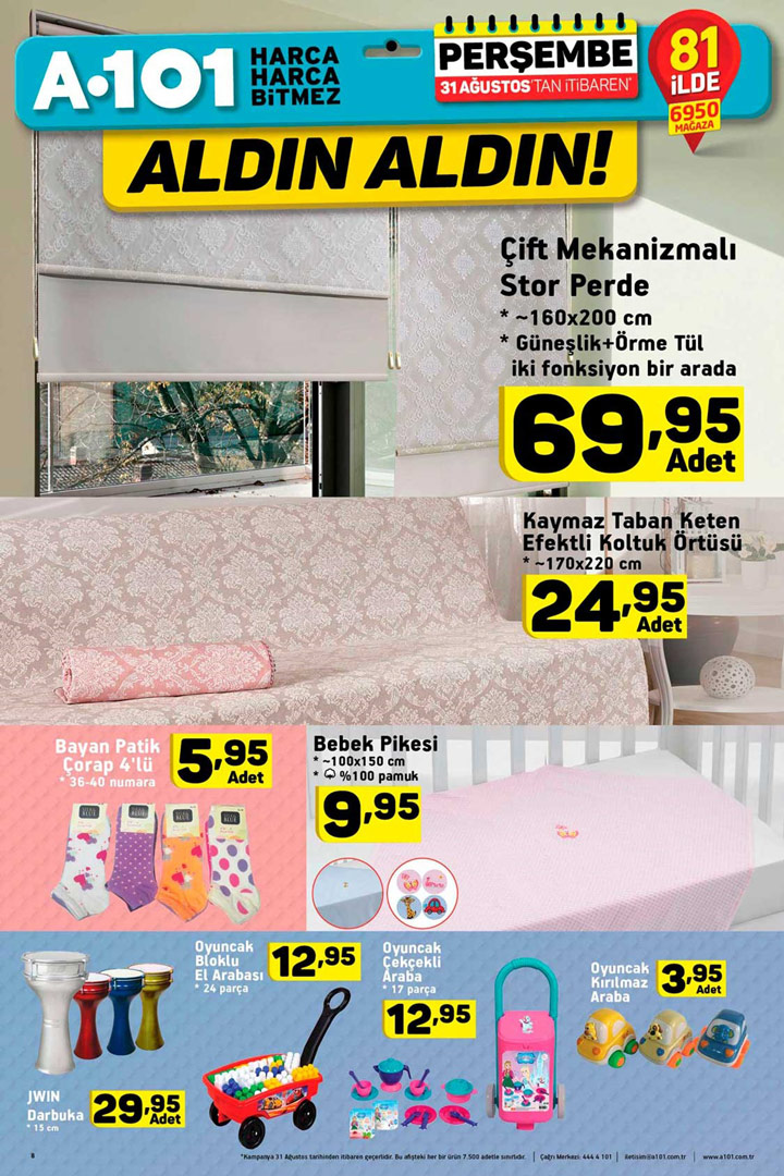 A101 31 Ağustos Perde ve Ev Tekstili Aktüel Kataloğu