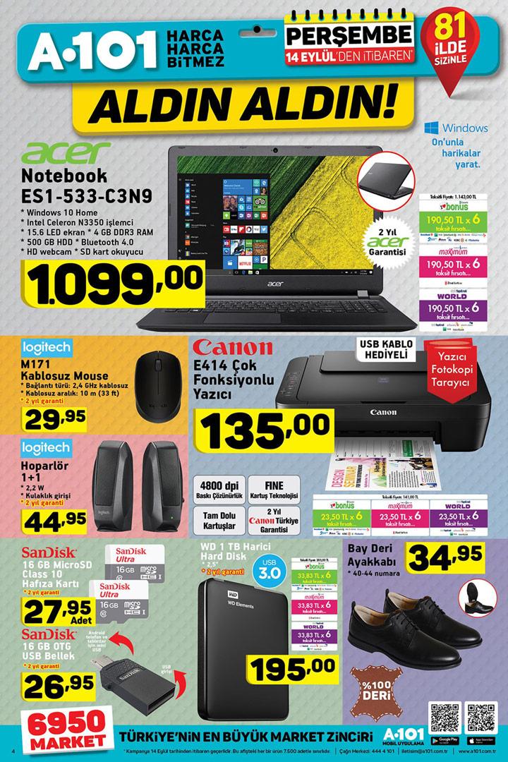 A101 14 Eylül Aktüel Elektronik ve PC Fırsat Sayfası