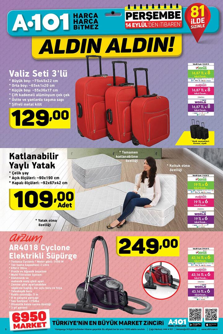 A101 14 Eylül Valiz & Yatak & Süpürge İndirimi Sayfası