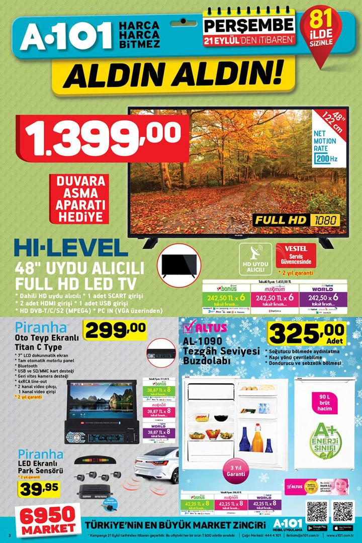 A101 21 Eylül İtibari İle Geçerli Aktüel Ürünler