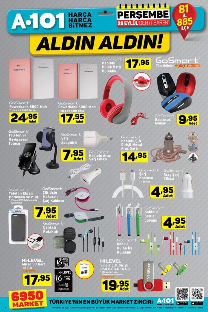 A101 28 Eylül GoSmart Aktüel Ürün İndirimleri