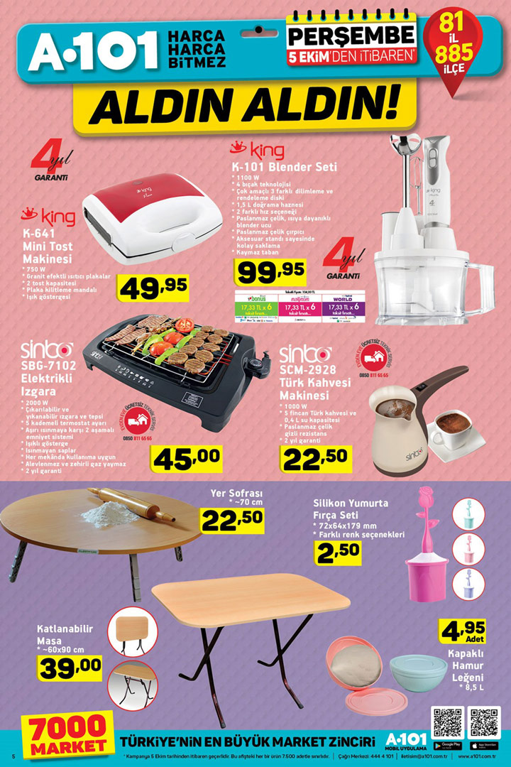A101 5 Ekim Aktüel Yardımcı Mutfak Ürün İndirimleri