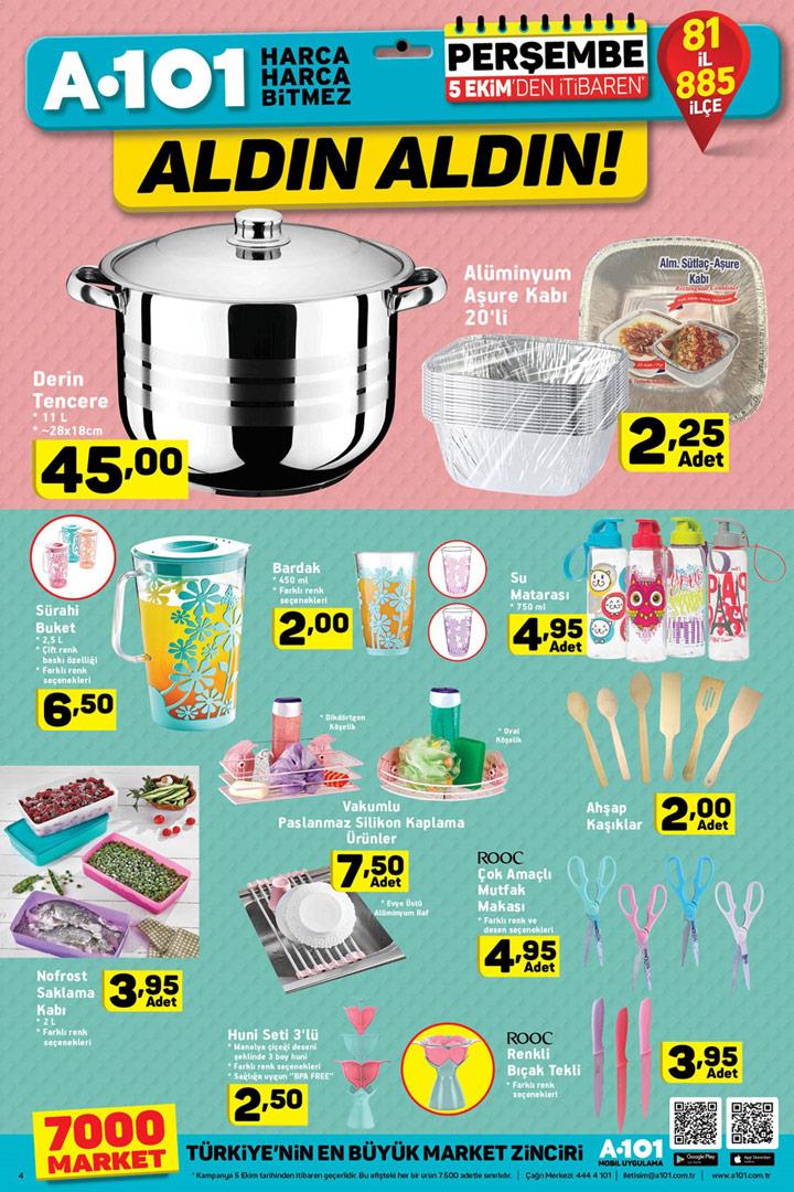 A101 5 Ekim Mutfak Ürünleri ve Perşembe Kampanyası