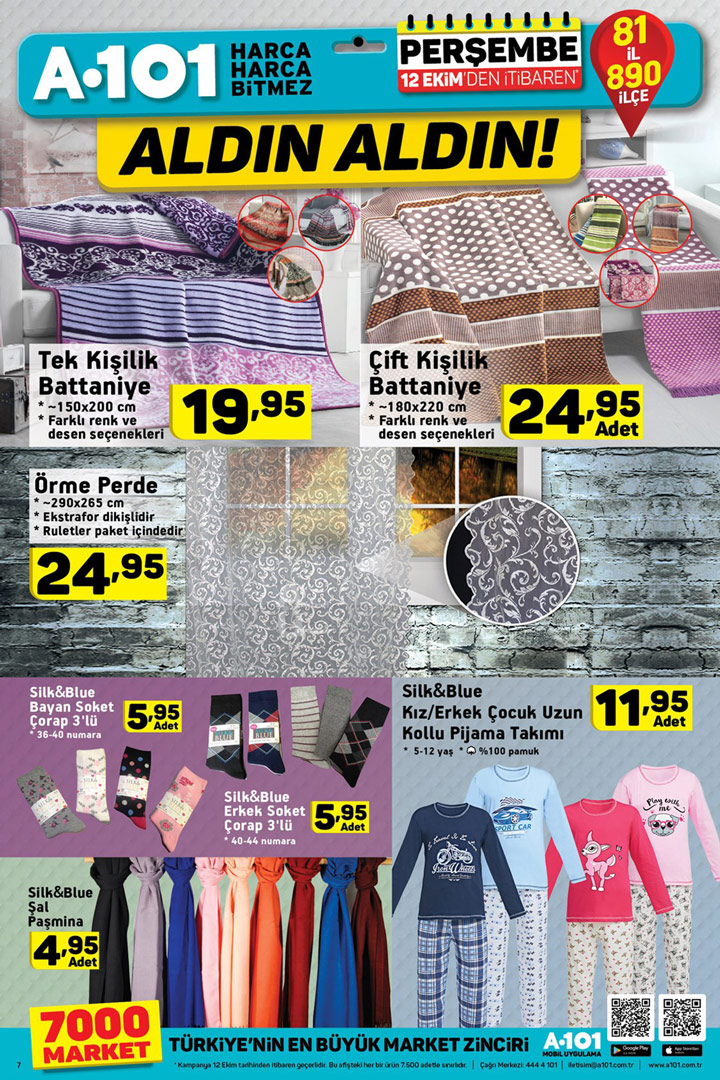 A101 12 Ekim Aktüel Fırsatları Ev Tekstili İndirimleri