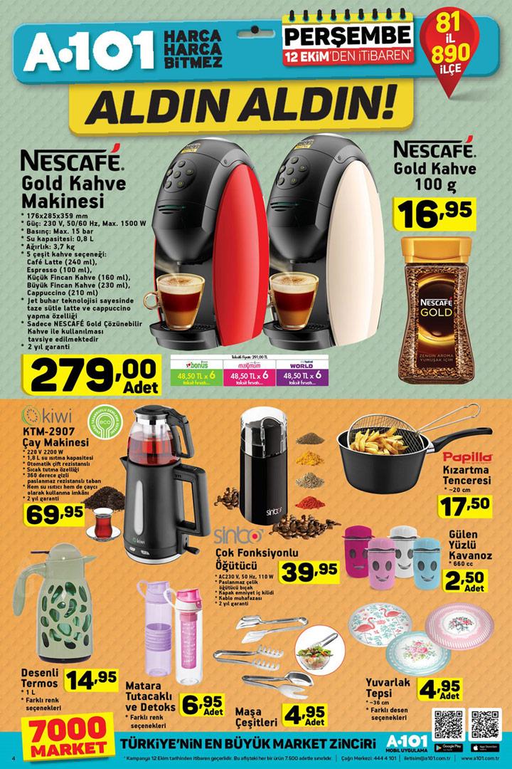 A101 12 Ekim Kahve Tutkunları Özel Aktüel Kataloğu