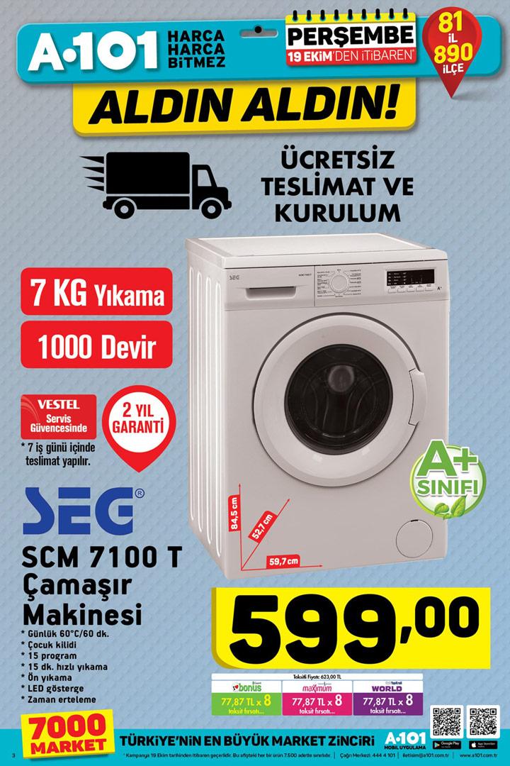 A101 19 Ekim İtibari İle Geçerli Çamaşır Makinesi Sayfası