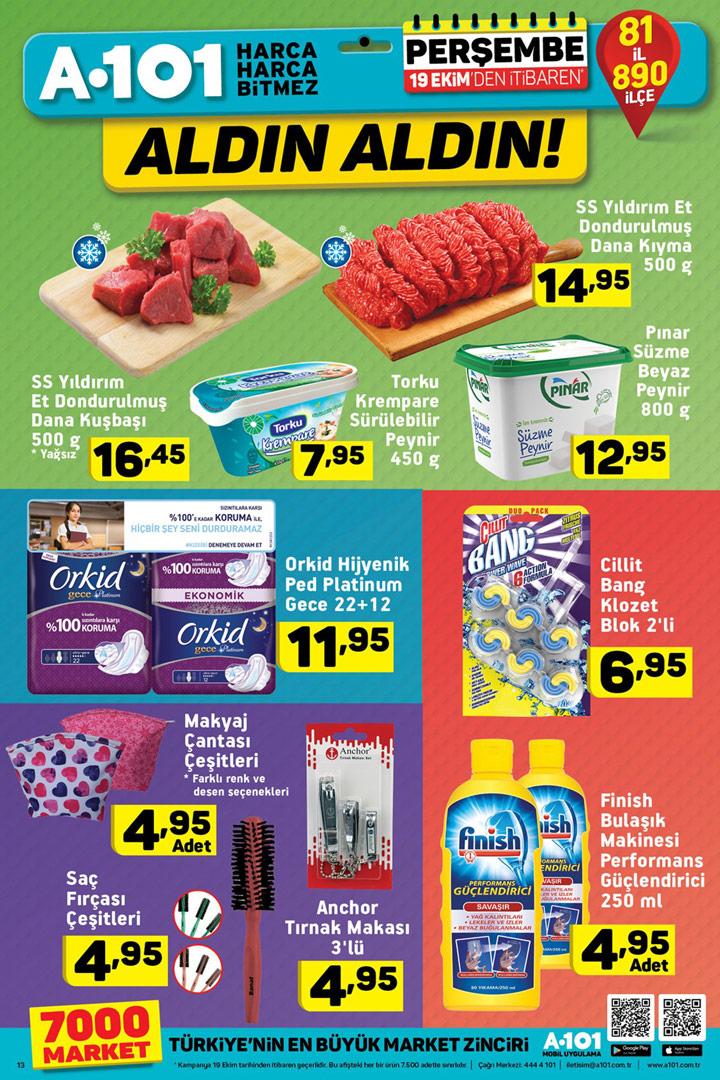 A101 19 Ekim Gıda ve Temizlik Mix Aktüel Sayfa