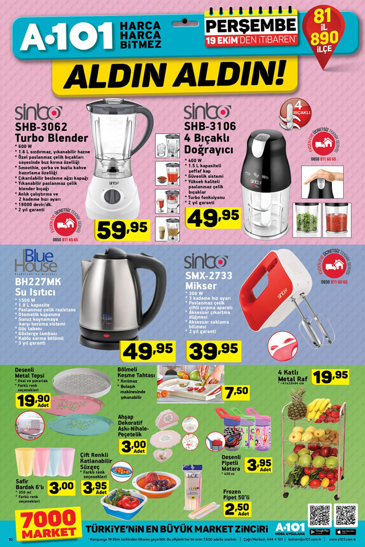 A101 Mutfak ürünleri A101 3 Mayis 2018 Perşembe A101